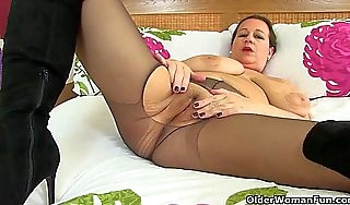 British milf vintage prince of darkness wears crotchless camiknickers