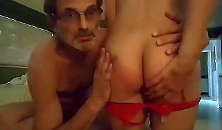 Curmudgeonly lady gets spanked wide of dad