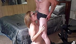 Gorgeous milf swallows his huge cum millstone like a thersitical lil cum slattern